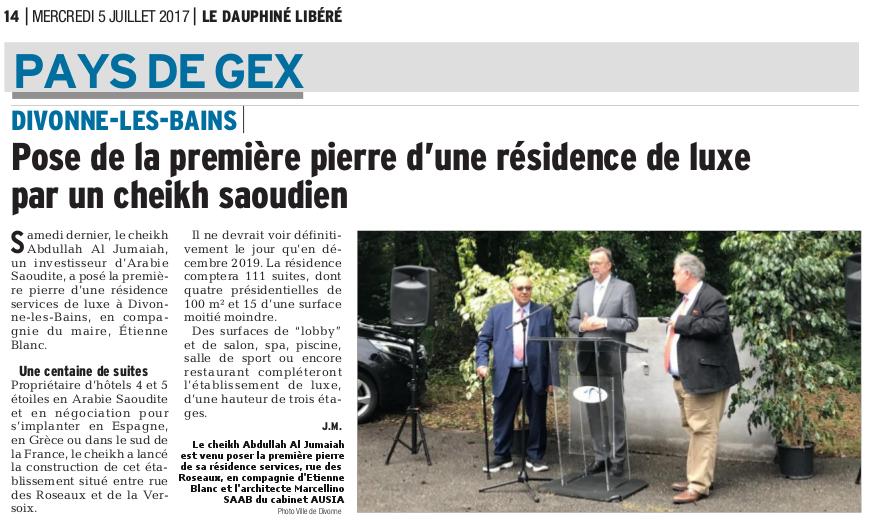 Article Presse -Divonne -Dauphiné